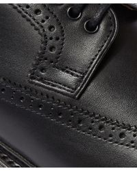 Foot The Coacher - Black Sid Wing Tip Leather Brogue for Men - Lyst