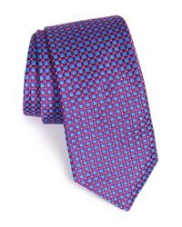 Ted Baker Purple Pure Silk Square Pattern Tie for men