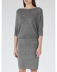 Reiss Gray Silver Knit Dress