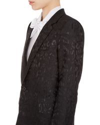Saint Laurent - Black Baby Cat Moiré Jacquard Blazer - Lyst