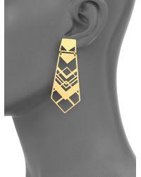 Tory Burch Metallic Chevron Drop Earrings