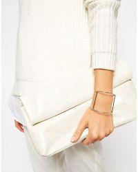 ASOS | Metallic Fine Bar Cuff Bracelet | Lyst