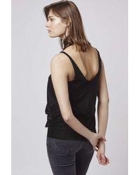 TOPSHOP - Black Velvet Tie-neck Plunge Cami Top - Lyst
