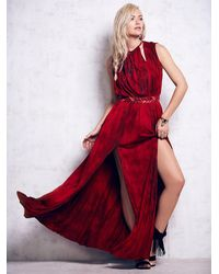 Free People | Red Leather Goddess Gown | Lyst