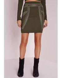 Missguided | Natural Stud Detail Mini Skirt Khaki | Lyst