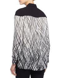 BCBGMAXAZRIA - Black Long-sleeve Printed Chiffon Blouse - Lyst