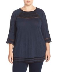 Lucky Brand | Blue Embroidered Yoke Top | Lyst
