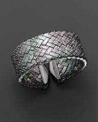 Roberto Coin Metallic Ruthenium Plated Sterling Silver Woven Cuff