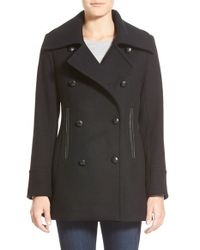 Pendleton Black 'cascades' Double Breasted Wool Blend Peacoat