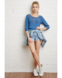 Forever 21 | Blue Crocheted Slub Knit Top | Lyst