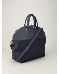 PB 0110 Blue AB5 Leather and Linen-Detail Tote