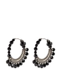 Givenchy | Black Bead Pavé Hoop Earrings | Lyst