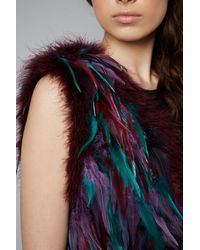 TOPSHOP Womens Festival Feather Gilet Purple