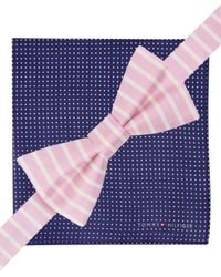 Tommy Hilfiger - Blue Vertical-stripe Pre-tied Bow Tie & Dot Pocket Square Set for Men - Lyst