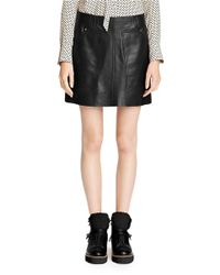 COACH Black X Blitz 'workwear' Oversize Pocket Leather Skirt