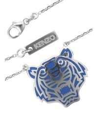 KENZO | Blue Silver Plated Tiger Necklace | Lyst