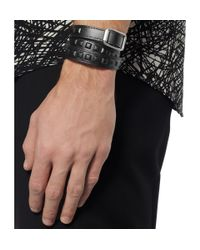 Balenciaga - Black Studded Leather Wrap Bracelet for Men - Lyst