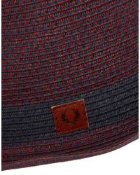 Fred Perry Purple Straw Trilby Hat for men