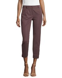 ESCADA - Purple Cropped Pants W/button Detail - Lyst