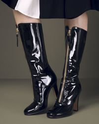 Valentino - Black Rebelle Patent-Leather Mid Boots  - Lyst