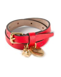 Alexander McQueen - Red Wraparound Skull Charm Bracelet - Lyst