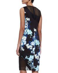 Elie Tahari - Black Emory Floral-print Sheath Dress W/ Mesh - Lyst