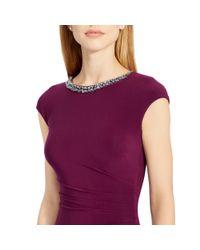 Ralph Lauren - Purple Embellished Ruched Dress - Lyst