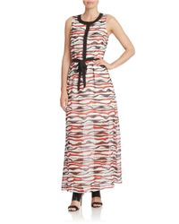 Kensie | Multicolor Watercolor Stripe Maxi Dress | Lyst