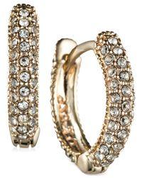 Judith Jack | Metallic Marcasite And Crystal Huggie Earrings | Lyst