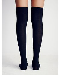Free People | Black Crossings Rib Thigh High | Lyst