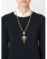 Dolce & Gabbana | Metallic Cameo Cross Necklace | Lyst