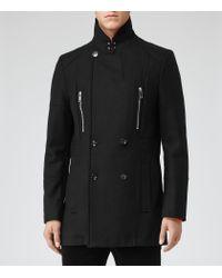 Reiss Black Starboard Funnel Collar Panel Coat for men