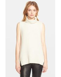 VINCE | Natural Sleeveless Ribbed Wool Turtleneck | Lyst