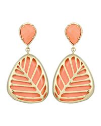 Kendra Scott | Pink Stella Leafmotif Magnesite Earrings Salmon | Lyst