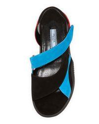 Prada - Blue Suede Asymmetric Flat Sport Sandal - Lyst