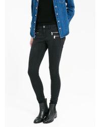 Mango - Black Skinny Zippy Jeans - Lyst