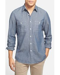 Wallin & Bros. Blue 'workwear' Trim Fit Chambray Sport Shirt for men