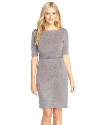 Ellen Tracy | Gray Heathered Knit Sheath Dress | Lyst