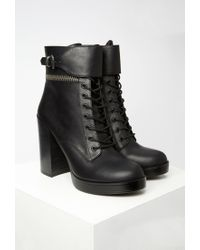 Forever 21 | Black Faux Leather Lace-up Booties | Lyst