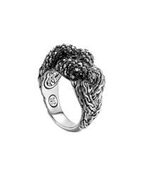 John Hardy Metallic Classic Chain Silver Lava Large Braided Ring With Black Sapphire