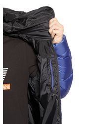 EA7 Blue Total Zip-Up Nylon Ripstop Down Jacket for men