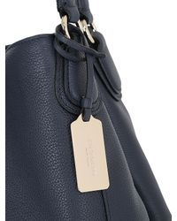 COACH Blue Edie Grained Leather Shoulder Bag