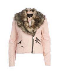 River Island Light Pink Faux Fur Shawl Collar Biker Jacket
