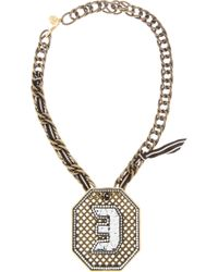 Lanvin - Metallic Brass and Crystal Digit Necklace - Lyst