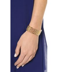 Tory Burch | Metallic Perforated Serif T Cuff Bracelet - Shiny Gold | Lyst