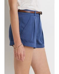 Forever 21 | Blue Belted Cuff Shorts | Lyst