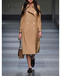 Gucci Natural Pleated Back Wool Trench Coat
