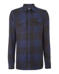ELEVEN PARIS | Blue 2 Pocket Check Flannel Shirt for Men | Lyst