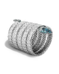 John Hardy - Cobra Multiple Coil Bracelet With Blue Topaz And Diamonds - Lyst