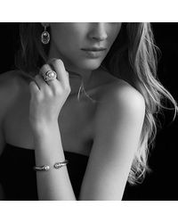 David Yurman | Metallic Crossover Bracelet With Pearls And Diamonds | Lyst